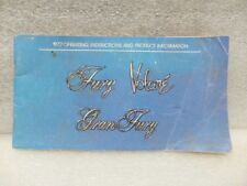 PLYMOUTH FURY      1977 Owners Manual 16519