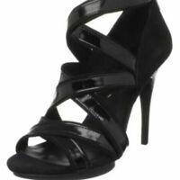 BCBGMaxAzria 8.5 Eddina Strappy Black Heels Patent Leather & Suede Open Toe Zips