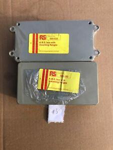 2x Grey ABS Plastic Project Box With Mounting Flanges For Electronics RS 505-533