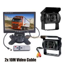 "2x 18 LED IR Reversing Car Rear View Camera +7"" LCD Monitor for Bus Truck 12-24V"