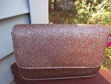 Womans Handbag Pink Metallic Glitter Evening Clutch Shoulder Bag