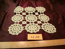 """Vtg Off White Hand Crocheted Lace Table topper Doily 10"""" x 11""""-lt 28-free ship"""