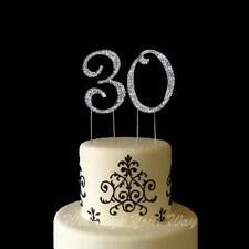 30th Birthday Rhinestone Diamante Cake Topper Number 7cm Silver Crystal Bling