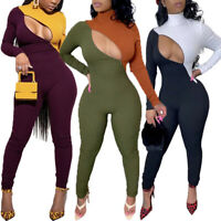 Women Sexy Turtleneck Long Sleeve Zipper Patchwork Bodycon Jumpsuit Club Romper#