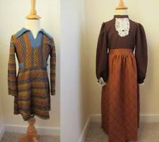 vintage girls dresses 70's hippie boho world book day age 7 jabot front maxi