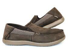 Crocs Santa Cruz 2 Luxe Espresso/Walnut Leather Comfort Loafers Size 10 Mens