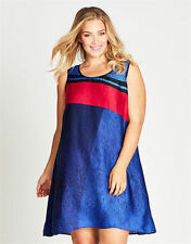 Autograph Blue red black lined holiday easy wear Swing empire waist DRESS 18 NEW
