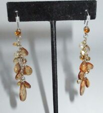 Dangle Earring Gold Tone Chain Beaded Rhinestone Crystal Bright Orange Shiny