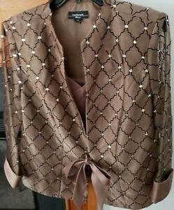 R&M Richards Plus Size 16W Brown & Silver Glitter 2PC Set Camisole and  Jacket