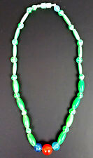 """Plastic Mardi Gras Bead Necklace Green and Red 16"""" Vintage 1960s Hong Kong Nice"""