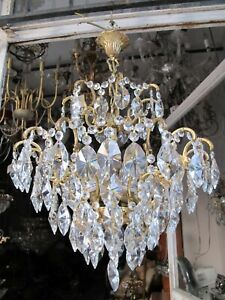 Antique French Gigantic Spider Style Crystal Chandelier Lamp 1950's Ø 20 in Dmtr