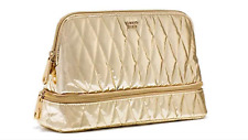 VICTORIA'S SECRET QUILTED METALLIC GOLD DOUBLE-ZIP CLUTCH  COSMETIC POUCH BAG