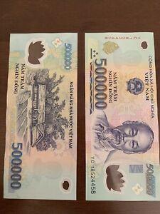 1,000,000 VIETNAM DONG (2 X 500000) 500k Vnd Banknotes, Bank Note Vietnamese Cir