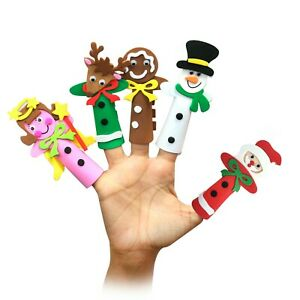 Foam Finger Puppets Christmas Kids Party Babies Toy School Festive (5 Pack)