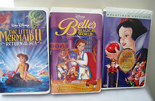 Lot 3 Disney VHS Belles Magical World, Snow White & 7 Dwarfs, Little Mermaid II