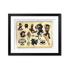 Sailor Jerry Vintage Old School Tattoo Flash Panther Poster Print