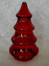 Unusual Ruby Red Blown Glass Tree Shaped Jar w/Lid