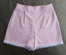 New Miss Selfridge Petites Powder pink/lace trim high waisted shorts -size 6