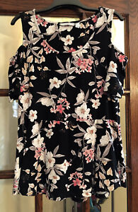 Isaac Mizrahi Live! Tropical Floral Cold Shoulder Peplum Tunic Black M A306450