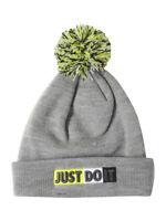 Nike Little Boy's Just Do It Pom Dark Grey Heather Beanie Hat Sz: 4/7