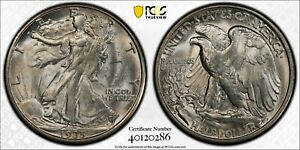 1935 D WALKING LIBERTY HALF DOLLAR PCGS MS 63 FROSTY WHITE NICE STRIKE FOR ISSUE