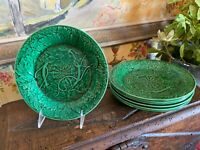 S/7 Vintage English Wedgwood Pottery Green Majolica Plates 8.35 inches