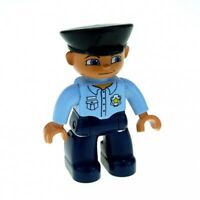1x Lego Duplo Figur Mann dunkel blau Polizist Uniform Mütze schwarz 47394pb034