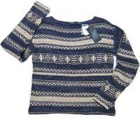 🆕 NWT $155 LAUREN RALPH LAUREN Sweater Indigo Blue/Natural, PM Petite Medium