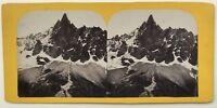 Aguja Del Drus Mont-Blanc Francia Suizo Foto Vintage Estéreo Albúmina c1865
