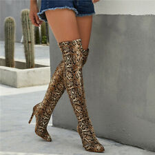 Women Snakeskin Print Over The Knee Boots Thigh High Heel Sexy Stretch Boot Shoe