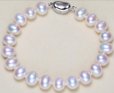 "Gorgeous 10-11mm south sea round white pearl bracelet 7.5-8"" 925s Y3385"