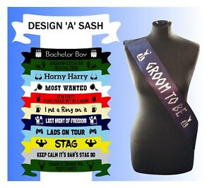 Personalised Stag Night Sash Lads on Tour Funny Groom to Be Best Man Custom Made