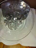 "Set of 11 Vintage Federal Glass Clear Fruits Pattern Center Salad Plates 8"""