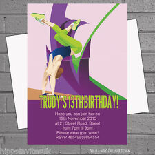 Girls Gymnastics Handstand Childrens Birthday Party Invitations x 12 +envs H1004