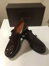 New Gucci Shade Lux Cocoa Patent Leather Monk Strap Oxford Uk 8 /US 9 🇮🇹