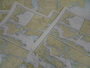 Lot 12 RI MA NH ME NOAA Nautical Navigational Maps Charts circa 1970s to 1990s