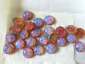 Full pack of 24 Czech glass round cabochones in 15mm Pink Fire Opal.