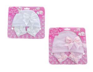 Baby Mädchen Mütze & Socken Set rosa weiß mit Schleife Größe Newborn - 6 Monate 100% Baumwolle
