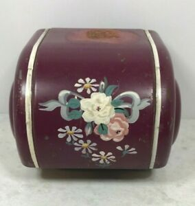 Vintage Ransburg Toleware Burgundy Hand Painted Wall Mounted Toilet Paper Holder