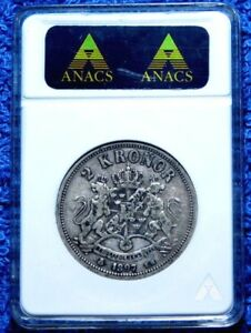 Sweden  1897 2 Kroner ANACS certified Scarce Mintage Only 206819 A25-638