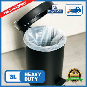 3 Litre Pedal Bin Bags White 3L Liners For Dustbin FAST FREE DELIVERY