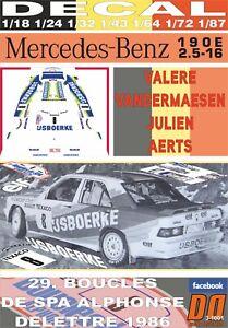 DECAL MERCEDES BENZ 190E 2.3 16V V.VANDERMAESEN BOUCLES DE SPA 1986 DnF (06)