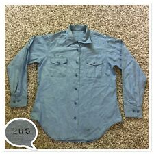 Vintage 50s Military Army USN Chambray Denim Utility Work Shirt 15.5 Made in USA