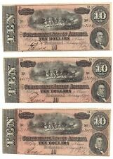 Set of 3 1864 Confederate States of American Ten Dollar Notes T68 Pf44 Cr552
