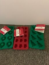 Celebrate It Silicone Mold LOT  Christmas Bakeware Molds Bell Bow Wreath Llama