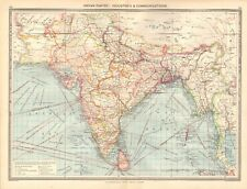 1907  LARGE ANTIQUE MAP - INDIAN EMPIRE : INDUSTRIES & COMMUNICATIONS