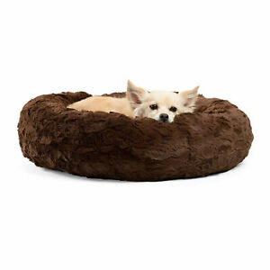 Best Friends by Sheri Orthopedic Relief Donut Cuddler Dog Bed in Brown Lux Fur