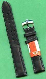 GENUINE BLACK CALF LEATHER CAVADINI STRAP 18mm or 20mm & ROLEX STEEL BUCKLE