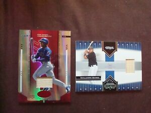 Lot of (2) Toronto Blue Jays game-used bat relic cards (see below)