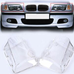 Pair for BMW E46 Sedan/Wagon 328i 330i 98-02 Headlight Headlamp Cover Clear Lens